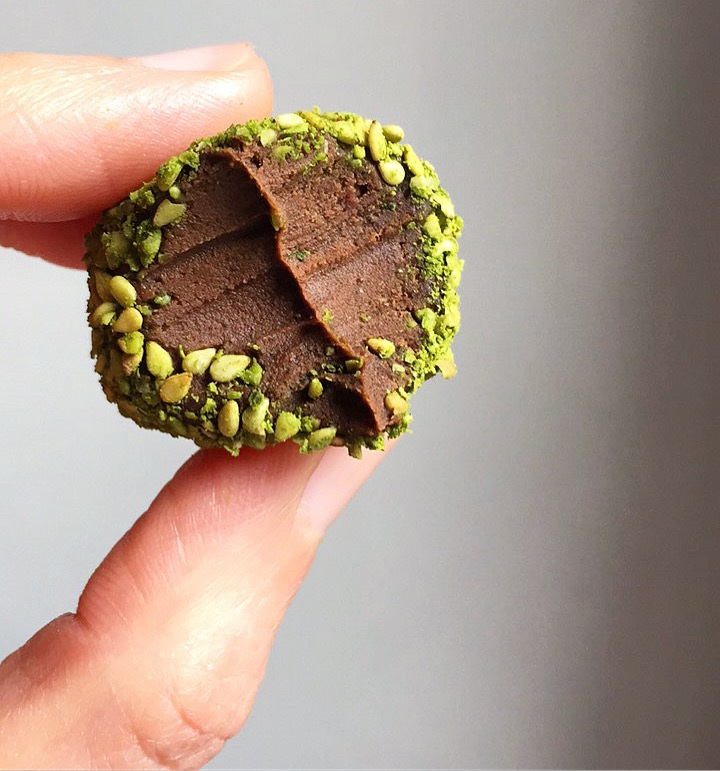 matcha truffle close up